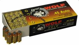 Buy This 45 ACP (45 Auto) 185 gr SJHP Wolf Gold Ammo for Sale