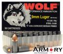 9mm Luger (9x19mm) 115gr FMJ Wolf Performance Ammo Box (50 rds)