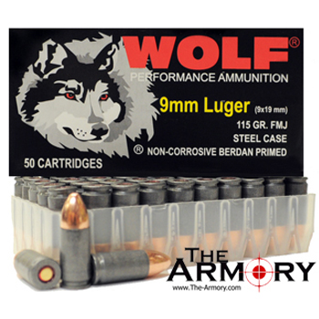 9mm Luger (9x19mm) 115gr FMJ Wolf Performance Ammo