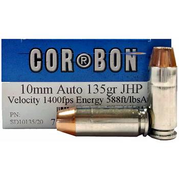 10mm Auto 135gr JHP Corbon Ammo Box (20 rds)