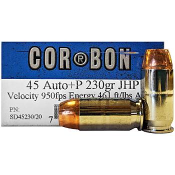45 ACP (45 Auto) 230gr +P JHP Corbon Ammo Box (20 rds)