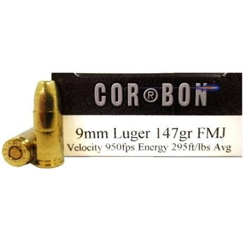 9mm Luger (9x19mm) 147gr FMJ Corbon Performance Match
