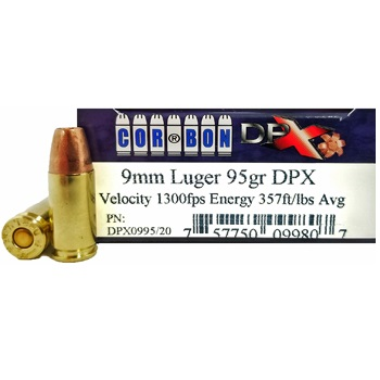 9mm Luger (9x19mm) 95gr DPX Corbon Ammo Box (20 rds)