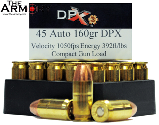 Buy This 45 ACP (45 Auto) 160 gr Compact Gun Load DPX Corbon Ammo for Sale