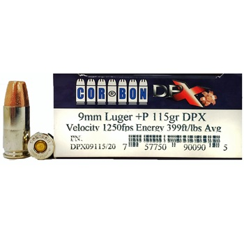 9mm Luger (9x19mm) 115gr +P DPX Corbon Ammo Box (20 rds)