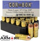 Buy This 9mm Luger (9x19mm) 115 gr +P JHP Corbon Ammo for Sale