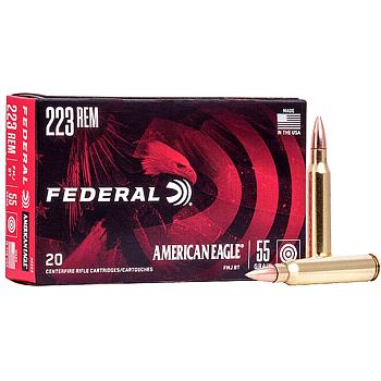 223 Remington (5.56x45mm) 55gr FMJBT Federal American Eagle Ammo Box (20 rds)
