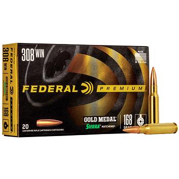 308 Win (7.62x51mm) 168gr BTHP Federal Gold Medal Match Ammo Box (20 rds)