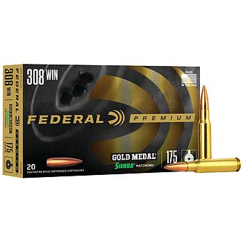 308 Win (7.62x51mm) 175gr BTHP Federal Gold Medal Match Ammo Box (20 rds)