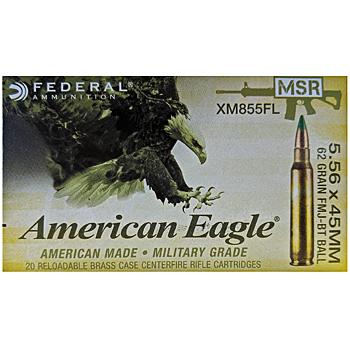 5.56x45mm 62gr FMJBT Federal American Eagle MSR Ammo Brick (500 rds)