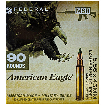 5.56x45mm 62gr FMJBT Federal American Eagle MSR Ammo Box (90 rds)