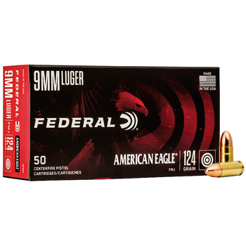 9mm Luger (9x19mm) 124gr Federal American Eagle Ammo