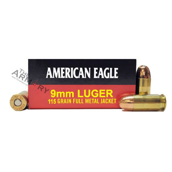 9mm Luger (9x19mm) 115gr FMJ Federal American Eagle Ammo