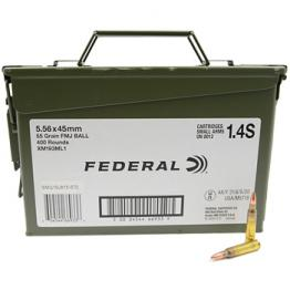 223 Remington (5.56x45mm) 55gr FMJ Federal XM193 Lake City Ammo Can (400 rds)