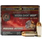 40 S&W 165gr Hydra-Shok Deep Federal Ammo Box (20 rds)