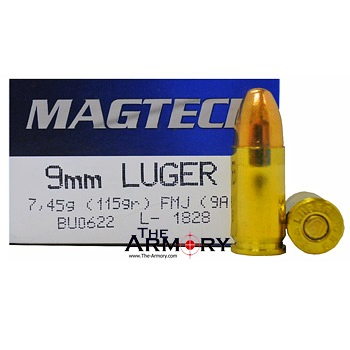 9mm Luger (9x19mm) 115gr FMJ Magtech Ammo Box (50 rds)