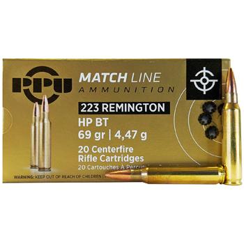 223 Remington (5.56x45mm) 69gr HPBT PPU Match Ammo Box (20 rds)