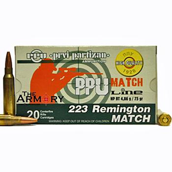 223 Remington (5.56x45mm) 75gr HPBT PPU Match Ammo Battle Pack (200 rds)
