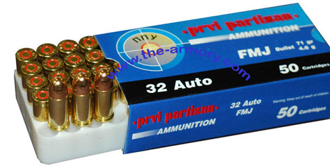32 Auto (ACP) 71gr FMJ PPU Ammo (50rds) - PP-R3 1SBX