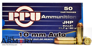 Buy This 10mm Auto 180gr JHP PPU Box Ammo for Sale