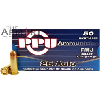 25 Auto 50gr FMJ PPU Ammo Box (50 rds)