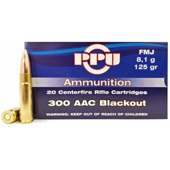 300 AAC Blackout 125gr FMJ PPU Ammo Box (20 rds)