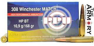 Buy This 308 Win (7.62x51mm) NATO 168 gr HPBT PPU MATCH Ammo for Sale