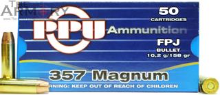 357 Mag 158gr FPJ PPU Ammo Box (50rds)