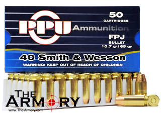 40 S&W 165gr FPJ PPU Ammo Case (500 rds)