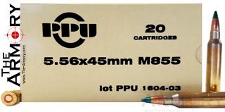 223 Remington (5.56x45mm) 62gr FMJSCBT M855 PPU Ammo Case (1000rds)