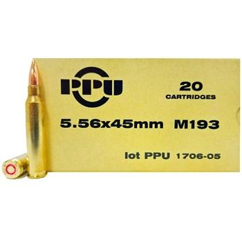 5.56x45mm M193 55gr FMJBT PPU Ammo Box (20 rds)