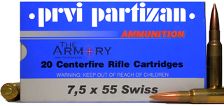 Buy This 7.5x55 Swiss 174gr FMJ PPU Ammo for Sale