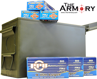 9mm Luger (9x19mm) 115gr FMJ PPU Ammo Case in 50 Cal Ammo Can (1000 rds)