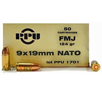 9mm (9x19mm) NATO 124gr FMJ PPU Ammo Box (50 rds)