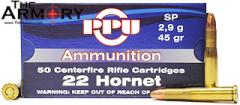Buy This 22 Hornet 45g PPU SP Box Ammo for Sale