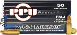 7.63 Mauser 85gr FMJ PPU Ammo Box (50 rds)