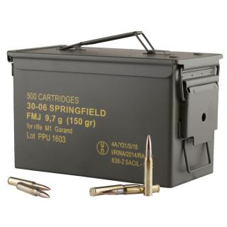 30-06 Springfield M1 Garand 150gr FMJ PPU Ammo Can (500 rds)