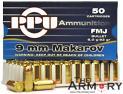 9mm Makarov (9x18mm) 93gr FMJ PPU Ammo Box (50 rds)
