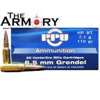 PPU 6.5 Grendel Ammo 120gr Hollow Point Boat Tail