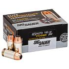 45 Auto (ACP) 185gr JHP Sig Sauer V-Crown Elite Performance Ammo Box (20 rds)