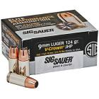 9mm Luger (9x19mm) 124gr V-Crown JHP Sig Sauer Elite Performance Ammo Box (20 rds)