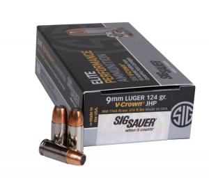 9mm Luger (9x19mm) 124gr V-Crown JHP Sig Sauer Elite Performance Ammo Box (50 rds)