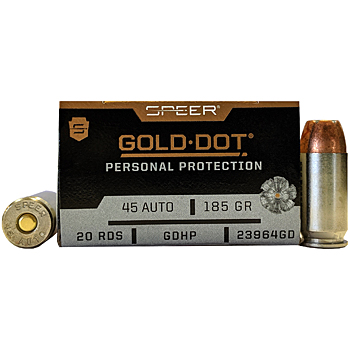 45 ACP (45 Auto) 185gr GDHP Speer Gold Dot Ammo Box (20 rds)