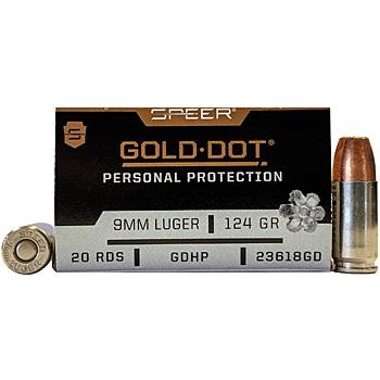 9mm Luger (9x19mm) 124gr GDHP Speer Gold Dot Ammo Box