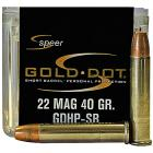 22 WMR GDHP Short Barrel 40gr Speer Gold Dot Ammo Box (50 rds)