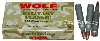 223 Remington (5.56x45mm) 55gr SP Wolf MC Case (1000rds)