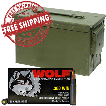 308 Winchester 150gr FMJ Wolf Ammo - 240rds + FREE SHIPPING & AMMO CAN