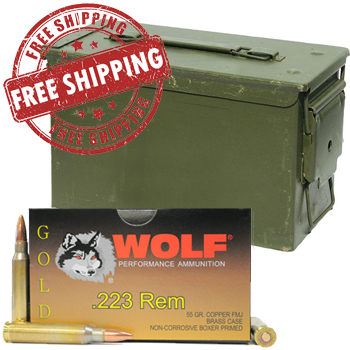 223 Remington (5.56x45mm) 55gr FMJ Wolf Gold Ammo Box (20 rds)